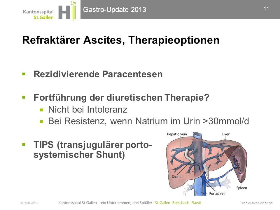 Gastro-Update 2013 Refraktärer Ascites, Therapieoptionen  Rezidivierende Paracentesen  Fortführung der diuretischen Therapie?  Nicht bei Intoleranz
