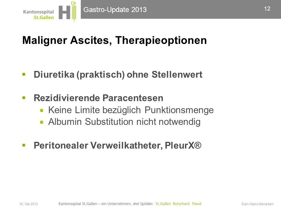 Gastro-Update 2013 Maligner Ascites, Therapieoptionen  Diuretika (praktisch) ohne Stellenwert  Rezidivierende Paracentesen  Keine Limite bezüglich