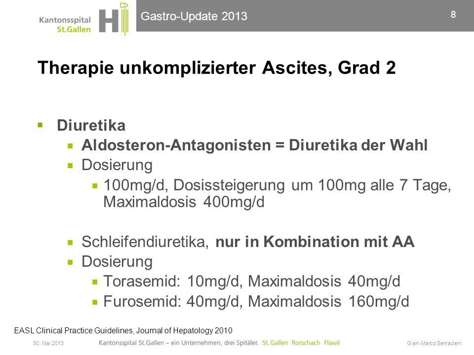 Gastro-Update 2013 Therapie unkomplizierter Ascites, Grad 2  Ziel der Diuretika-Therapie  Gewichtsreduktion 500g/d (1000g/d bei peripheren Oedemen).