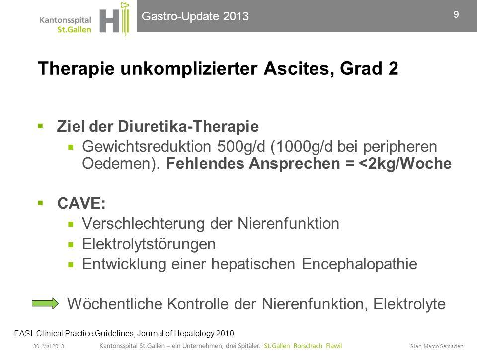 Gastro-Update 2013 Therapie unkomplizierter Ascites, Grad 3  Paracentese = Therapie 1.