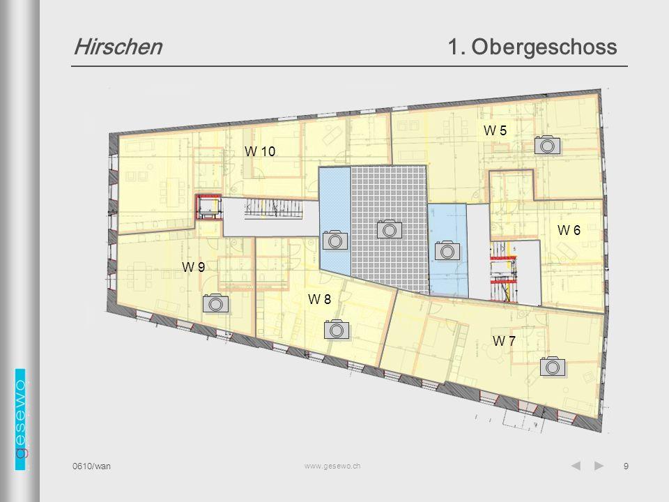 www.gesewo.ch 0610/wan10 Hirschen2. Obergeschoss W 11 W 13 W 14 W 15 W 16 Terrasse W 12