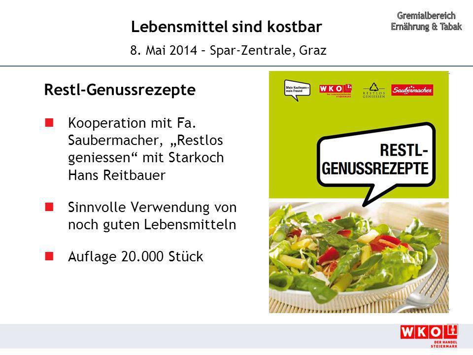 """Lebensmittel sind kostbar 8. Mai 2014 – Spar-Zentrale, Graz Restl-Genussrezepte Kooperation mit Fa. Saubermacher, """"Restlos geniessen"""" mit Starkoch Han"""