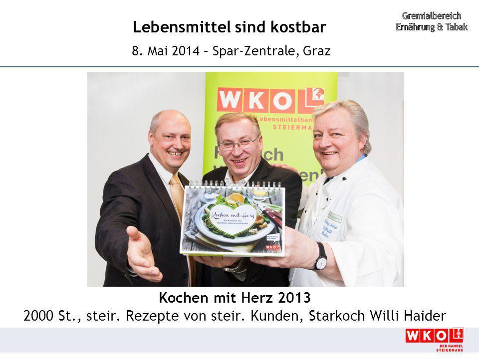 Lebensmittel sind kostbar 8. Mai 2014 – Spar-Zentrale, Graz Kochen mit Herz 2013 2000 St., steir. Rezepte von steir. Kunden, Starkoch Willi Haider