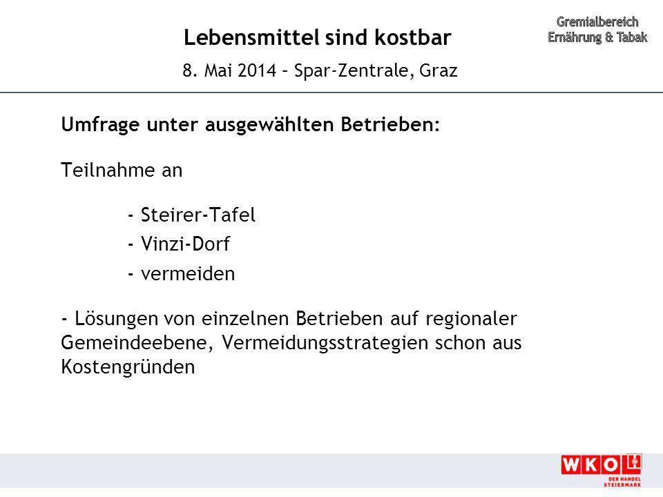 Lebensmittel sind kostbar 8. Mai 2014 – Spar-Zentrale, Graz Umfrage unter ausgewählten Betrieben: Teilnahme an - Steirer-Tafel - Vinzi-Dorf - vermeide