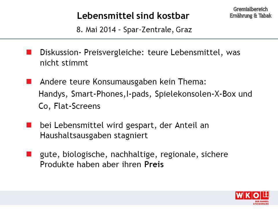Lebensmittel sind kostbar 8. Mai 2014 – Spar-Zentrale, Graz Diskussion- Preisvergleiche: teure Lebensmittel, was nicht stimmt Andere teure Konsumausga