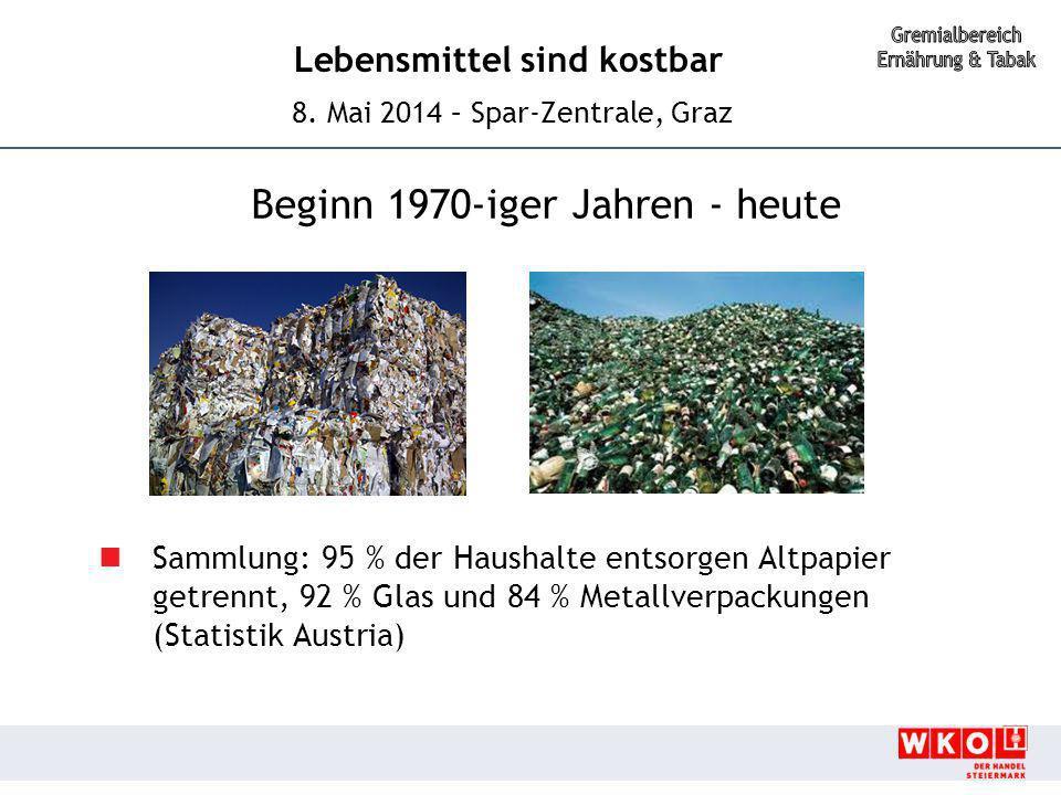 Lebensmittel sind kostbar 8. Mai 2014 – Spar-Zentrale, Graz Beginn 1970-iger Jahren - heute Sammlung: 95 % der Haushalte entsorgen Altpapier getrennt,