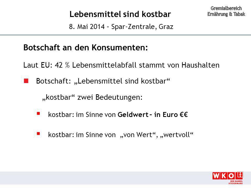 Lebensmittel sind kostbar 8. Mai 2014 – Spar-Zentrale, Graz Botschaft an den Konsumenten: Laut EU: 42 % Lebensmittelabfall stammt von Haushalten Botsc