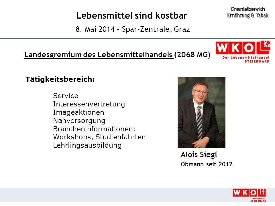 Lebensmittel sind kostbar 8. Mai 2014 – Spar-Zentrale, Graz Alois Siegl Obmann seit 2012 Landesgremium des Lebensmittelhandels (2068 MG) Tätigkeitsber