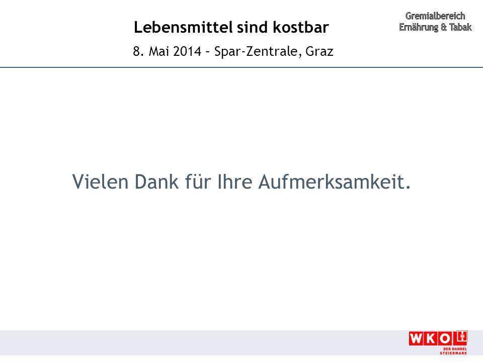 Lebensmittel sind kostbar 8. Mai 2014 – Spar-Zentrale, Graz Vielen Dank für Ihre Aufmerksamkeit.