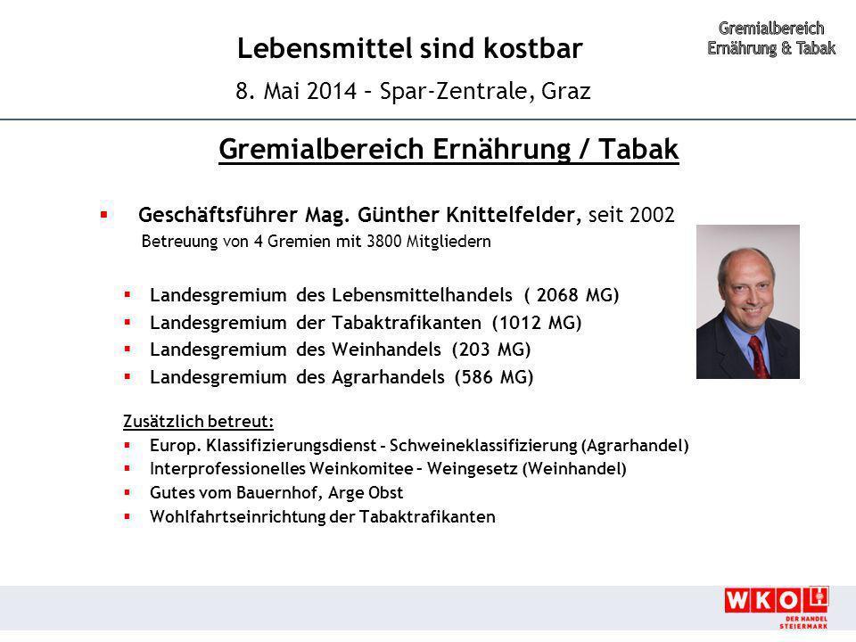 Lebensmittel sind kostbar 8. Mai 2014 – Spar-Zentrale, Graz Gremialbereich Ernährung / Tabak  Geschäftsführer Mag. Günther Knittelfelder, seit 2002 B
