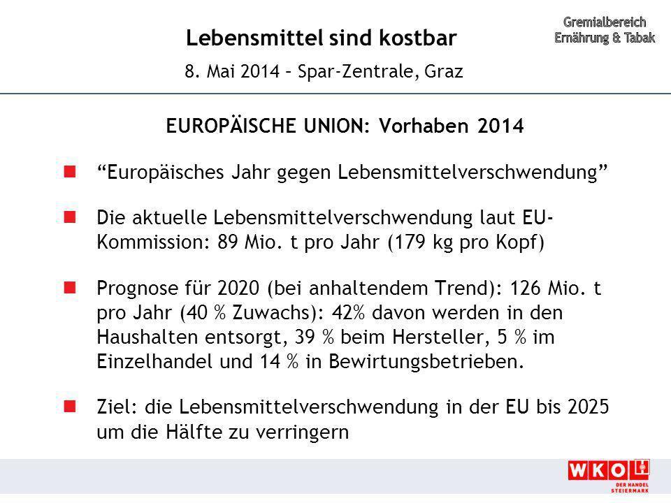 """Lebensmittel sind kostbar 8. Mai 2014 – Spar-Zentrale, Graz EUROPÄISCHE UNION: Vorhaben 2014 """"Europäisches Jahr gegen Lebensmittelverschwendung"""" Die a"""