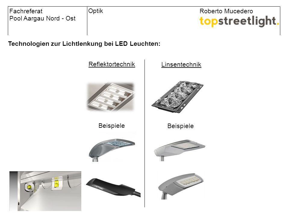 Technologien zur Lichtlenkung bei LED Leuchten: Fachreferat Pool Aargau Nord - Ost Roberto Mucedero Reflektortechnik Linsentechnik Beispiele Optik Vor