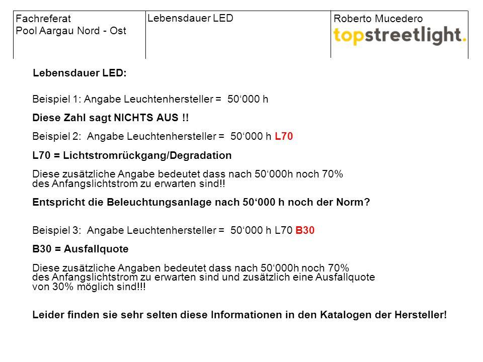 Fachreferat Pool Aargau Nord - Ost Roberto Mucedero Lebensdauer LED Lebensdauer LED: Beispiel 1: Angabe Leuchtenhersteller = 50'000 h Diese Zahl sagt