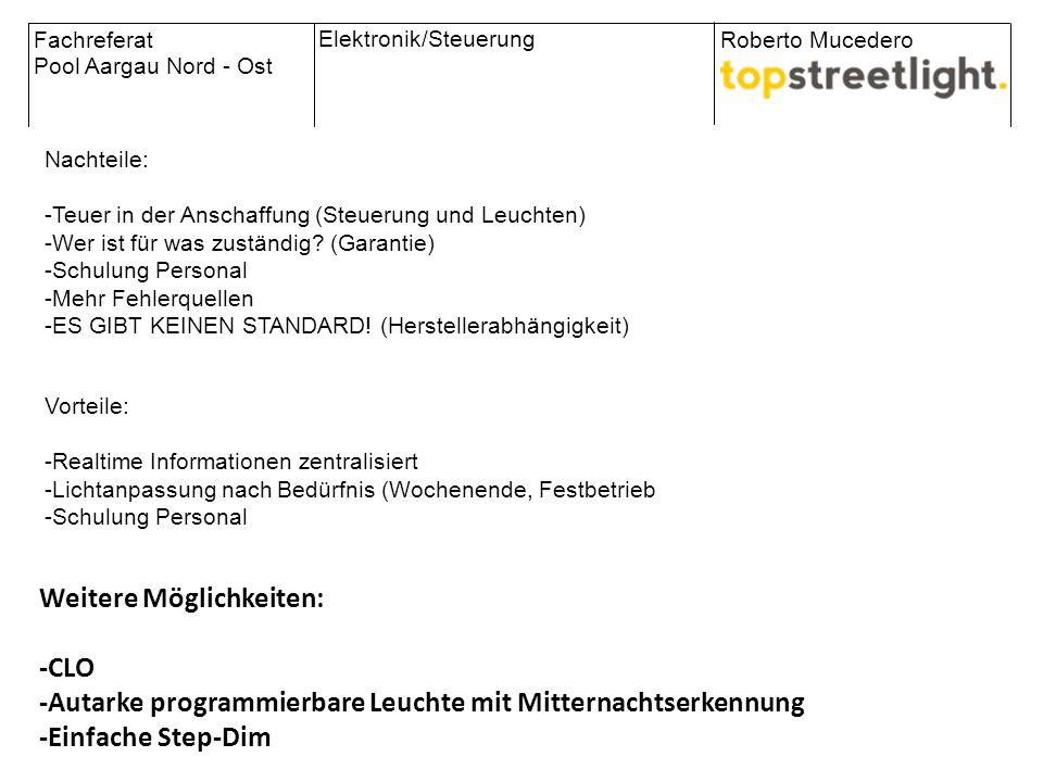 Fachreferat Pool Aargau Nord - Ost Roberto Mucedero Elektronik/Steuerung The City in the global net Nachteile: -Teuer in der Anschaffung (Steuerung un