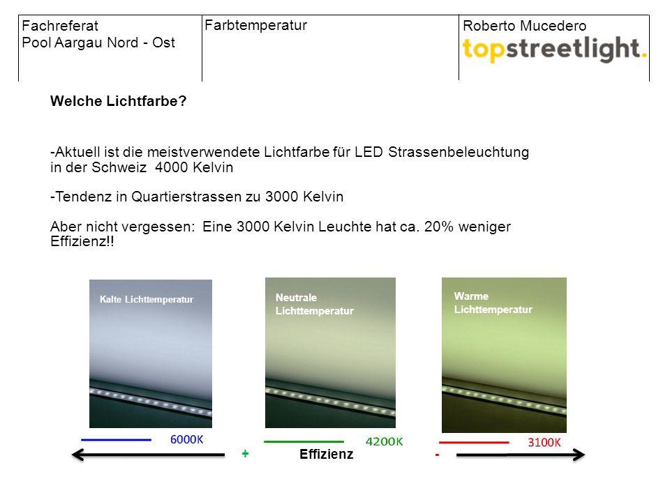 Kalte Lichttemperatur Warme Lichttemperatur Neutrale Lichttemperatur + Effizienz - Fachreferat Pool Aargau Nord - Ost Roberto Mucedero Farbtemperatur