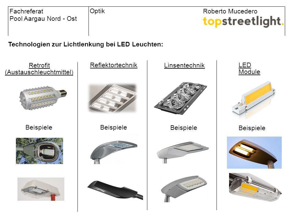 Retrofit (Austauschleuchtmittel ) Technologien zur Lichtlenkung bei LED Leuchten: Fachreferat Pool Aargau Nord - Ost Roberto Mucedero Reflektortechnik