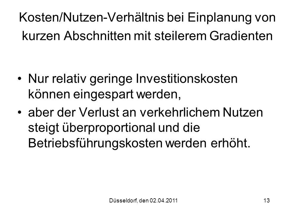 Düsseldorf, den 02.04.201113 Kosten/Nutzen-Verhältnis bei Einplanung von kurzen Abschnitten mit steilerem Gradienten Nur relativ geringe Investitionsk
