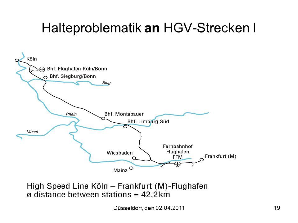 Düsseldorf, den 02.04.201119 Halteproblematik an HGV-Strecken I