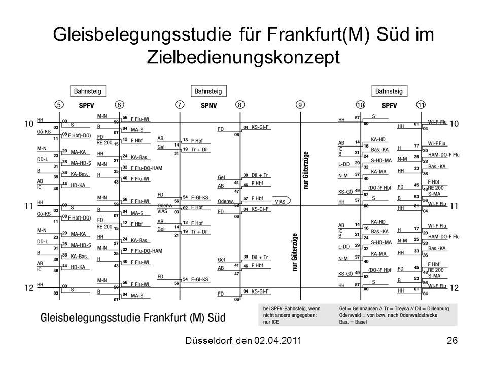 Düsseldorf, den 02.04.201126 Gleisbelegungsstudie für Frankfurt(M) Süd im Zielbedienungskonzept
