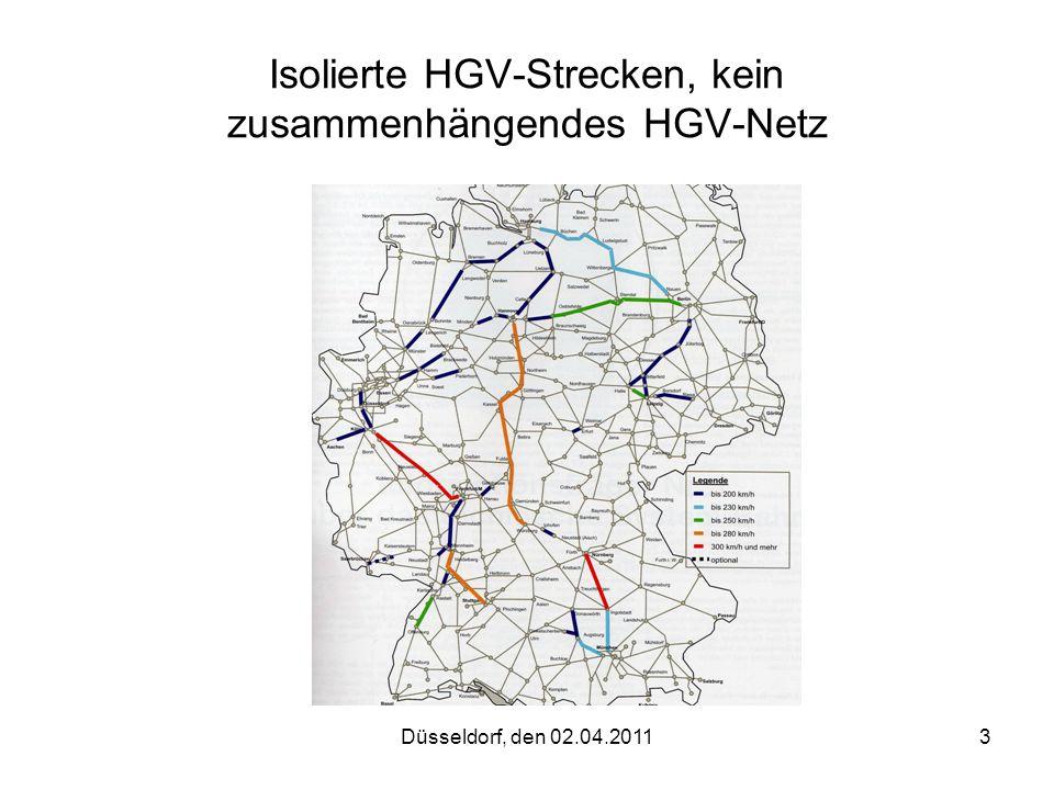 Düsseldorf, den 02.04.20113 Isolierte HGV-Strecken, kein zusammenhängendes HGV-Netz