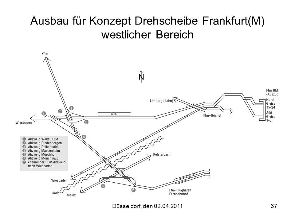 Düsseldorf, den 02.04.201137 Ausbau für Konzept Drehscheibe Frankfurt(M) westlicher Bereich