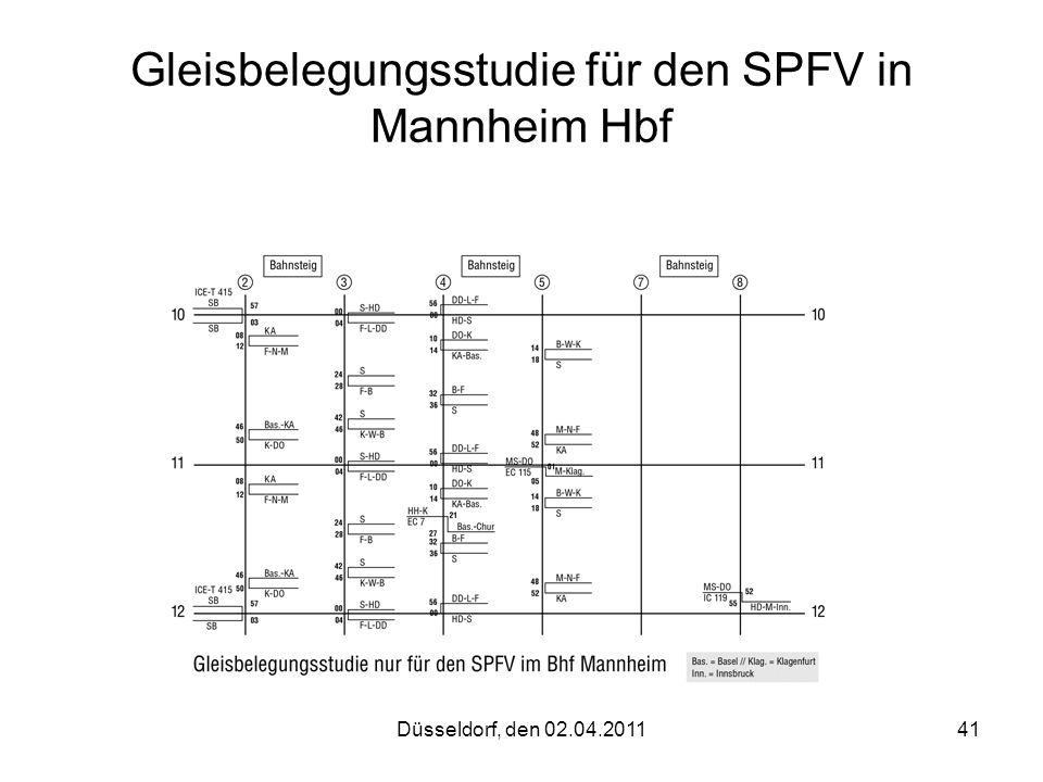 Düsseldorf, den 02.04.201141 Gleisbelegungsstudie für den SPFV in Mannheim Hbf