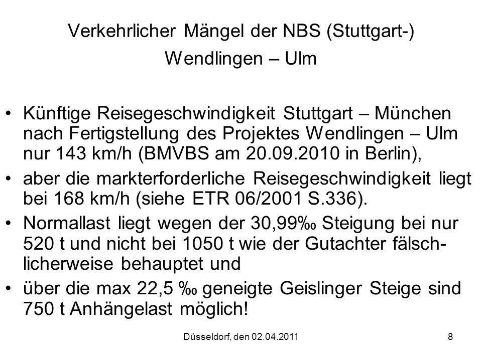 Düsseldorf, den 02.04.20118 Verkehrlicher Mängel der NBS (Stuttgart-) Wendlingen – Ulm Künftige Reisegeschwindigkeit Stuttgart – München nach Fertigst