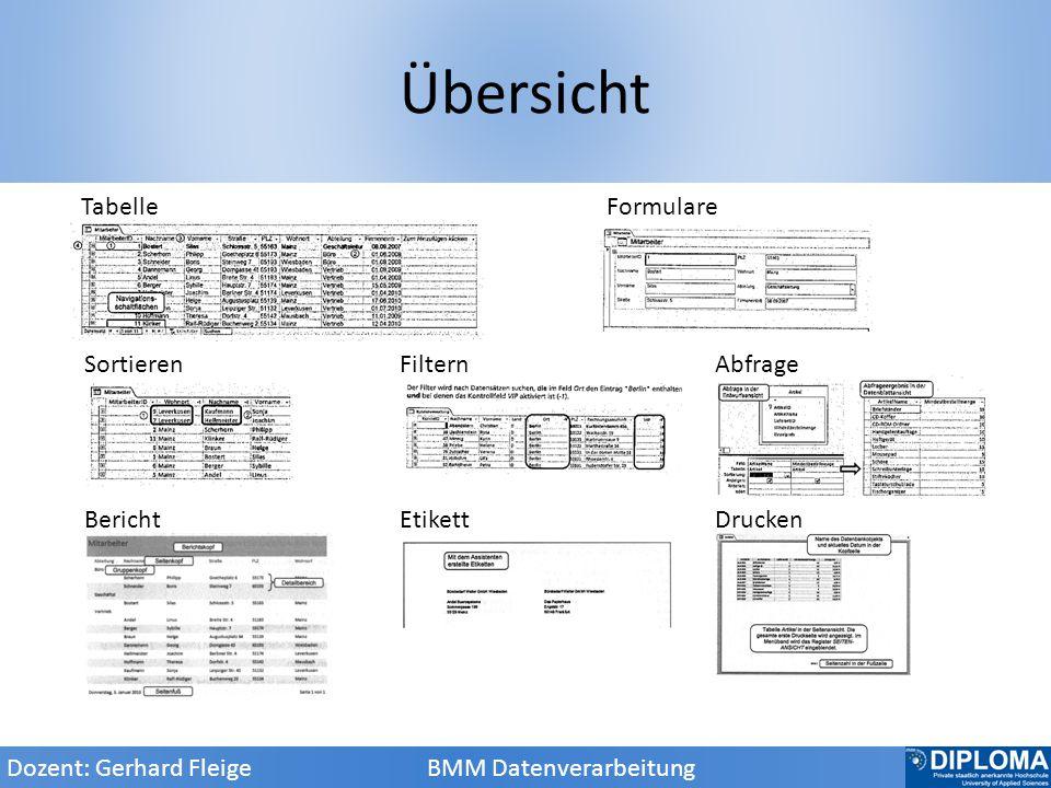 Übersicht Dozent: Gerhard Fleige BMM Datenverarbeitung Bericht Etikett Drucken Sortieren Filtern Abfrage Tabelle Formulare