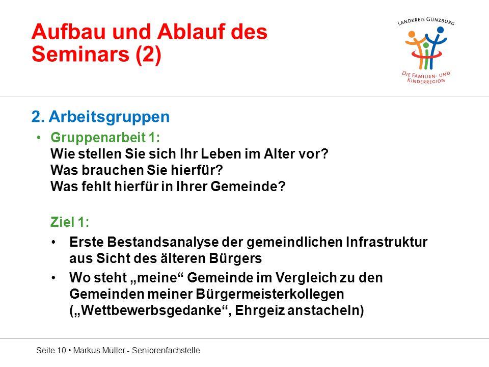 Aufbau und Ablauf des Seminars (2) 2.