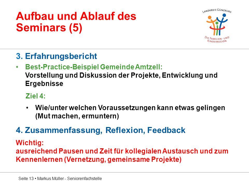 Aufbau und Ablauf des Seminars (5) 3. Erfahrungsbericht Best-Practice-Beispiel Gemeinde Amtzell: Vorstellung und Diskussion der Projekte, Entwicklung