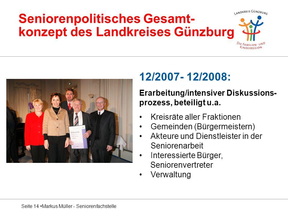 Seniorenpolitisches Gesamt- konzept des Landkreises Günzburg 12/2007- 12/2008: Erarbeitung/intensiver Diskussions- prozess, beteiligt u.a. Kreisräte a