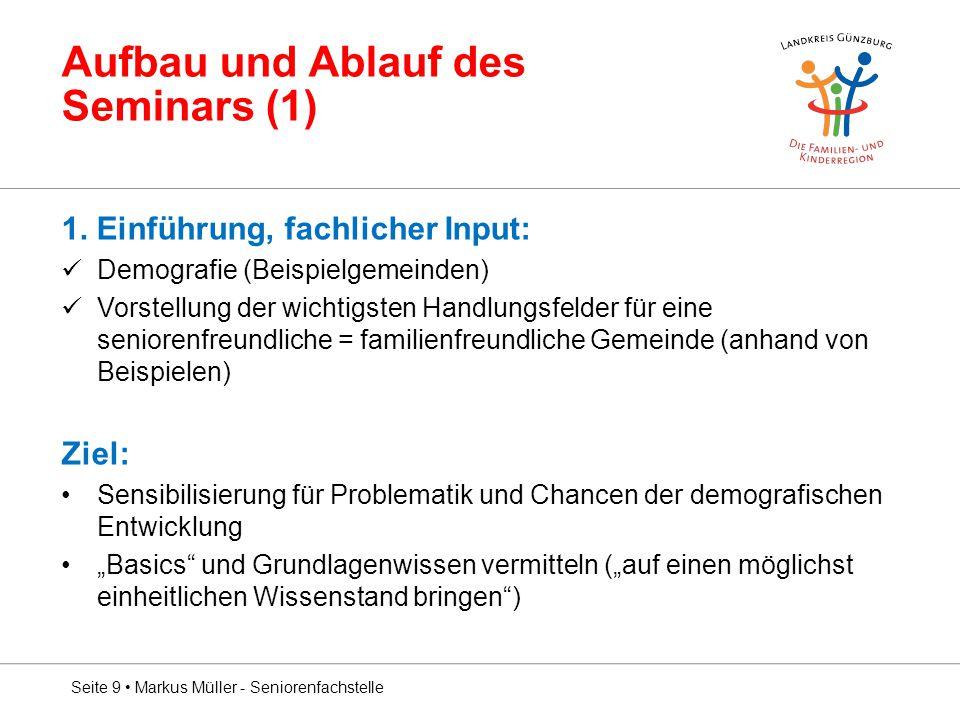 Aufbau und Ablauf des Seminars (1) 1. Einführung, fachlicher Input: Demografie (Beispielgemeinden) Vorstellung der wichtigsten Handlungsfelder für ein