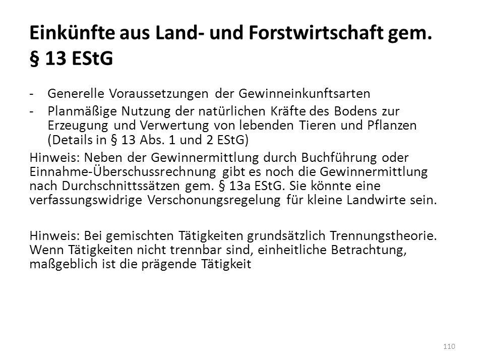 Einkünfte aus Land- und Forstwirtschaft gem. § 13 EStG -Generelle Voraussetzungen der Gewinneinkunftsarten -Planmäßige Nutzung der natürlichen Kräfte