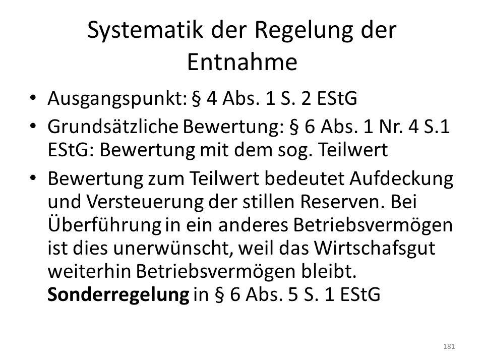 Systematik der Regelung der Entnahme Ausgangspunkt: § 4 Abs. 1 S. 2 EStG Grundsätzliche Bewertung: § 6 Abs. 1 Nr. 4 S.1 EStG: Bewertung mit dem sog. T