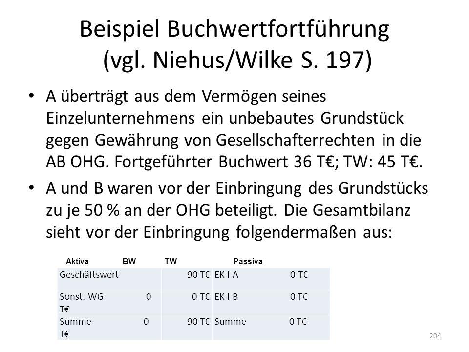Beispiel Buchwertfortführung (vgl. Niehus/Wilke S. 197) A überträgt aus dem Vermögen seines Einzelunternehmens ein unbebautes Grundstück gegen Gewähru