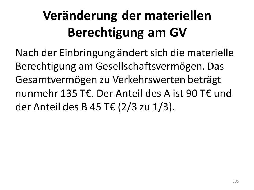 Veränderung der materiellen Berechtigung am GV Nach der Einbringung ändert sich die materielle Berechtigung am Gesellschaftsvermögen. Das Gesamtvermög