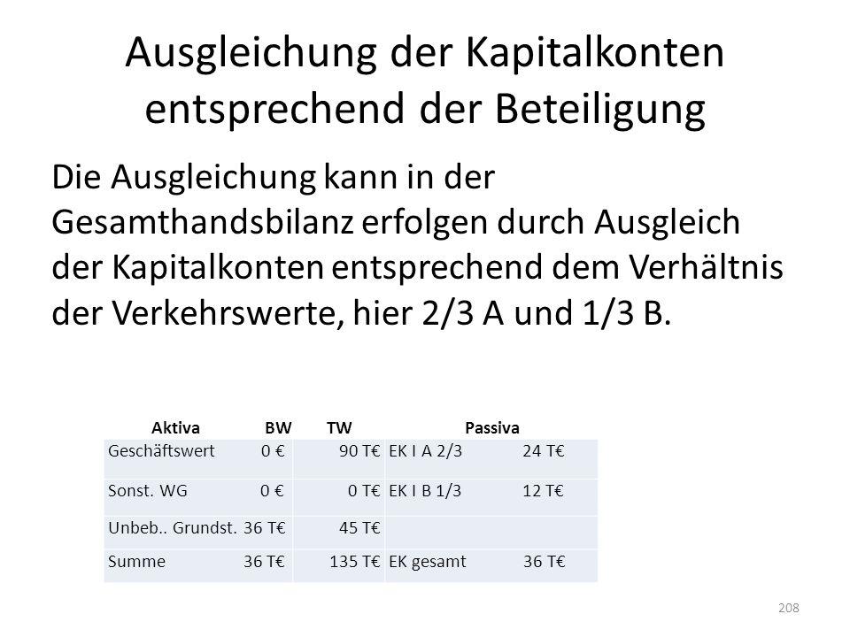 Ausgleichung der Kapitalkonten entsprechend der Beteiligung Die Ausgleichung kann in der Gesamthandsbilanz erfolgen durch Ausgleich der Kapitalkonten