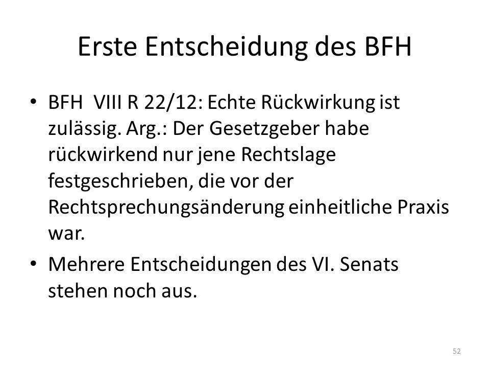 Erste Entscheidung des BFH BFH VIII R 22/12: Echte Rückwirkung ist zulässig. Arg.: Der Gesetzgeber habe rückwirkend nur jene Rechtslage festgeschriebe