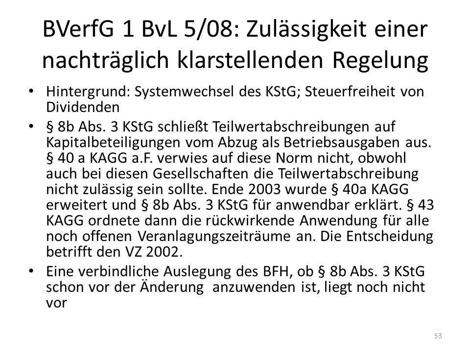 BVerfG 1 BvL 5/08: Zulässigkeit einer nachträglich klarstellenden Regelung Hintergrund: Systemwechsel des KStG; Steuerfreiheit von Dividenden § 8b Abs