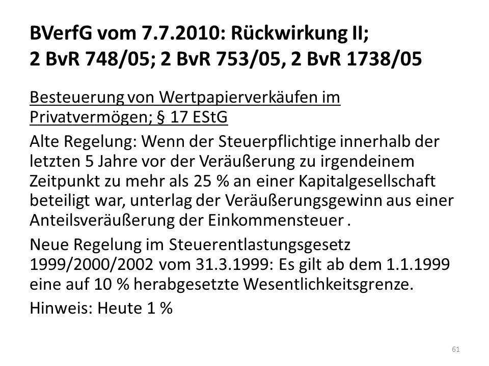 BVerfG vom 7.7.2010: Rückwirkung II; 2 BvR 748/05; 2 BvR 753/05, 2 BvR 1738/05 Besteuerung von Wertpapierverkäufen im Privatvermögen; § 17 EStG Alte R