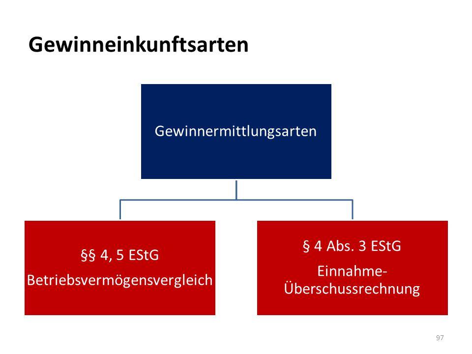 Gewinneinkunftsarten Gewinnermittlungsarten §§ 4, 5 EStG Betriebsvermögensvergleich § 4 Abs. 3 EStG Einnahme- Überschussrechnung 97