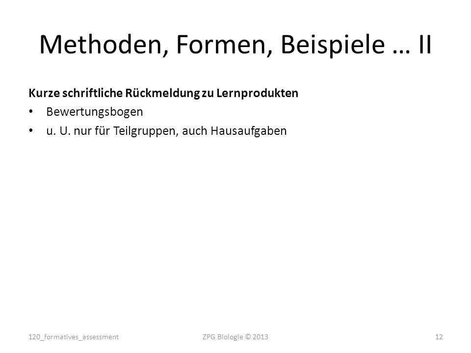 Kurze schriftliche Rückmeldung zu Lernprodukten Bewertungsbogen u. U. nur für Teilgruppen, auch Hausaufgaben ZPG Biologie © 201312 Methoden, Formen, B