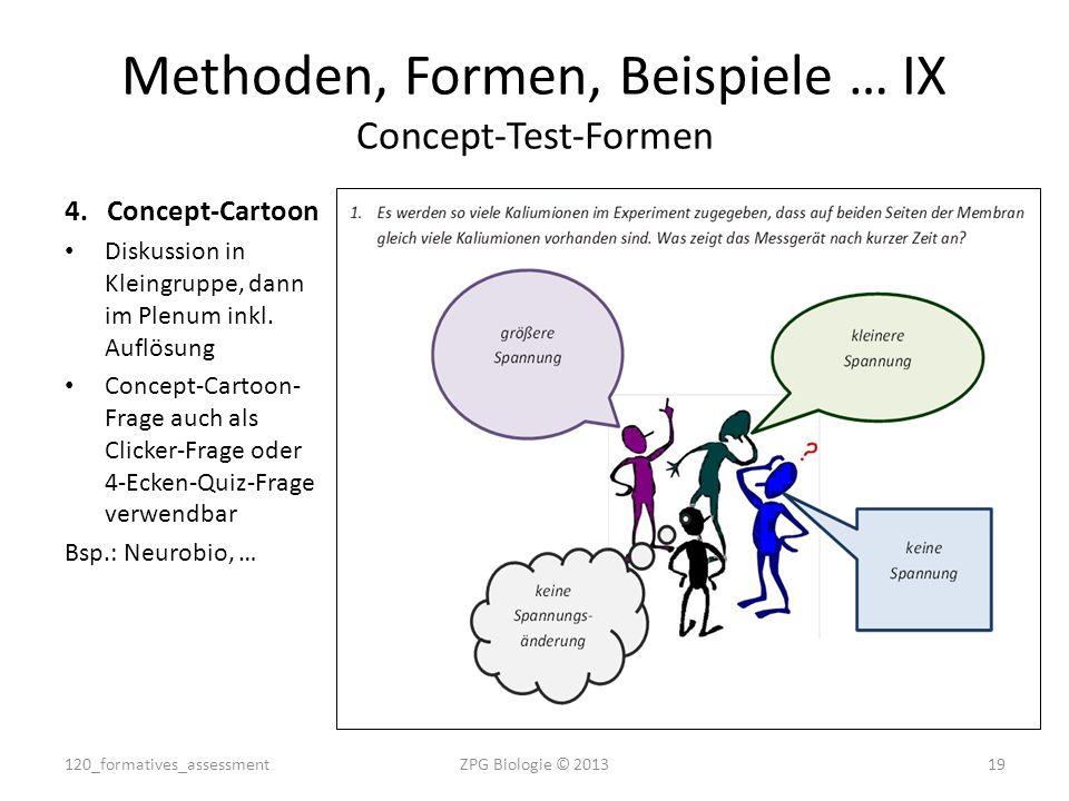 4.Concept-Cartoon Diskussion in Kleingruppe, dann im Plenum inkl. Auflösung Concept-Cartoon- Frage auch als Clicker-Frage oder 4-Ecken-Quiz-Frage verw