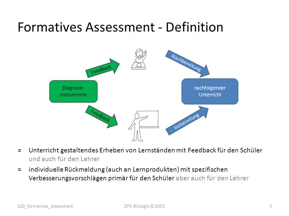 Formatives Assessment - Definition =Unterricht gestaltendes Erheben von Lernständen mit Feedback für den Schüler und auch für den Lehrer =individuelle
