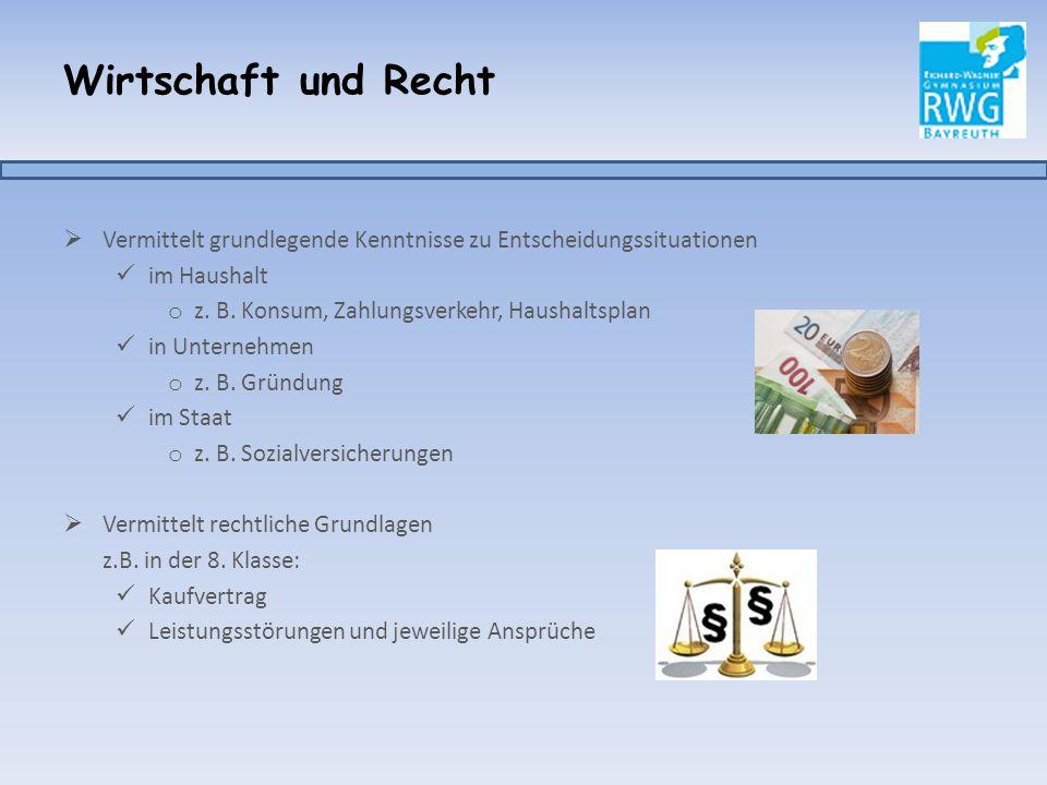 Wirtschaft und Recht  Der Lehrplan ist ähnlich dem im neusprachlichen Zweig ‼Mehr Zeit durch zwei zusätzliche Stunden in der 8.