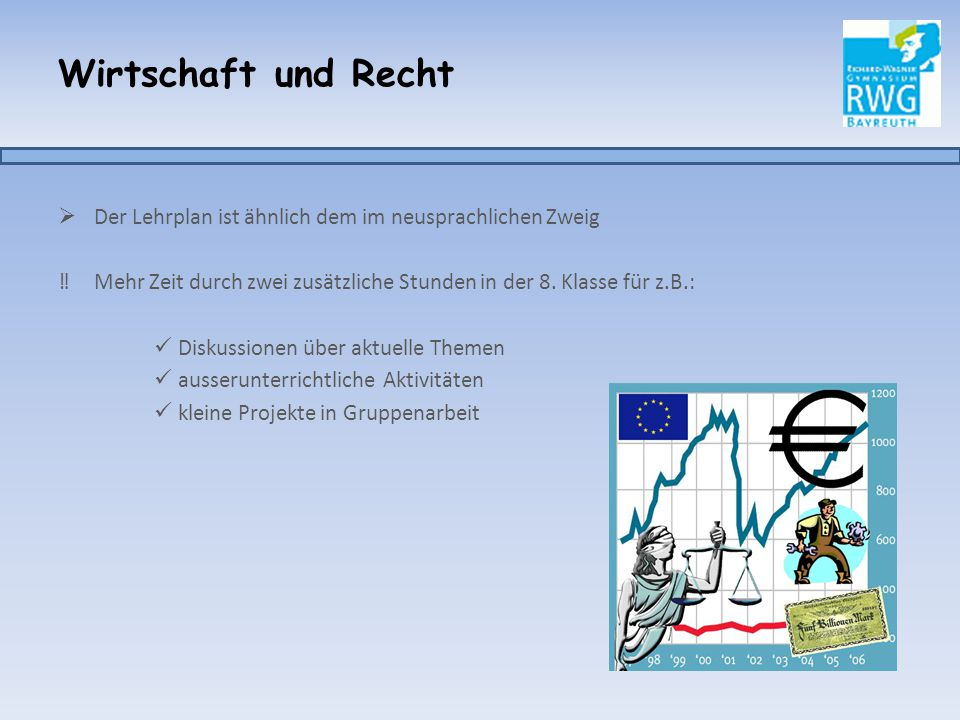 Wirtschaft und Recht  Der Lehrplan ist ähnlich dem im neusprachlichen Zweig ‼Mehr Zeit durch zwei zusätzliche Stunden in der 8. Klasse für z.B.: Disk