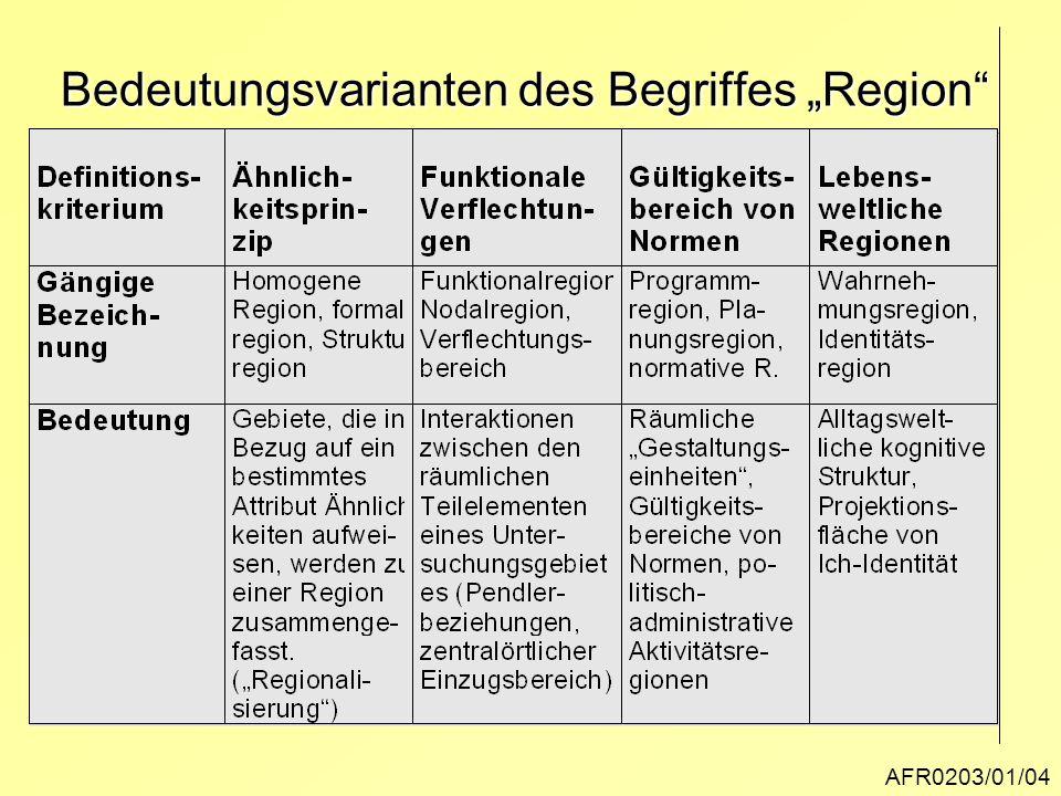 """AFR0203/01/04 Bedeutungsvarianten des Begriffes """"Region"""""""