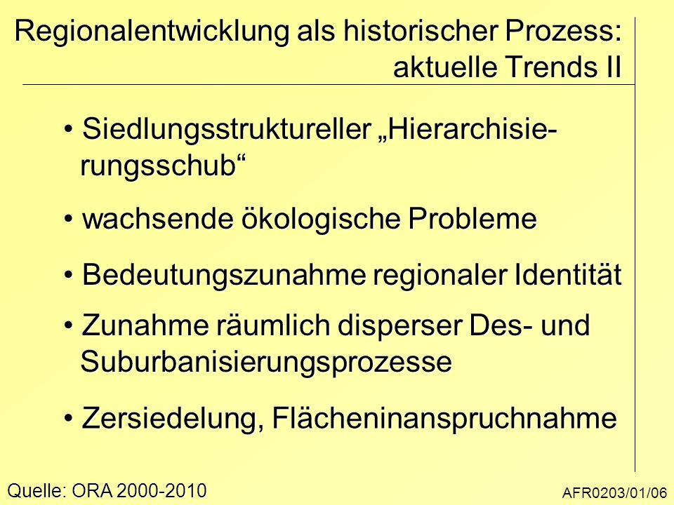 """AFR0203/01/06 Regionalentwicklung als historischer Prozess: aktuelle Trends II Siedlungsstruktureller """"Hierarchisie- Siedlungsstruktureller """"Hierarchi"""