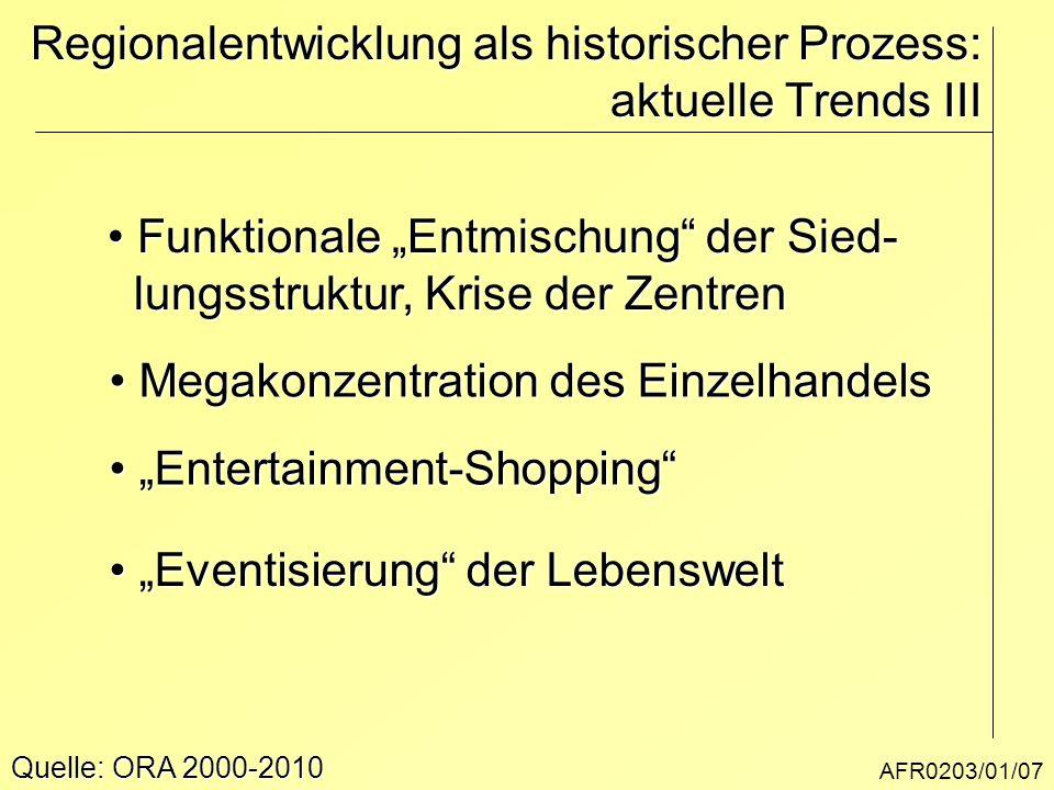 """AFR0203/01/07 Regionalentwicklung als historischer Prozess: aktuelle Trends III Quelle: ORA 2000-2010 Funktionale """"Entmischung"""" der Sied- Funktionale"""