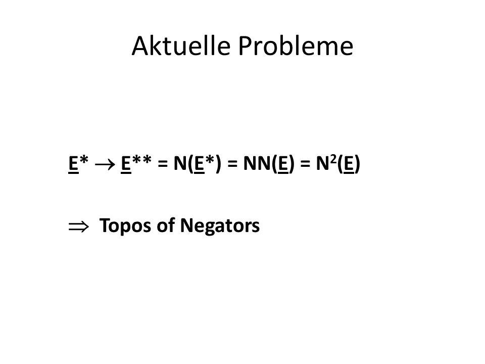 Aktuelle Probleme E*  E** = N(E*) = NN(E) = N 2 (E)  Topos of Negators